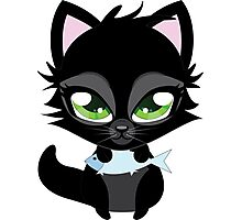 Cute cartoon black kitten with blue fish Photographic Print