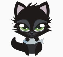 Cute cartoon black kitten with blue fish Kids Clothes