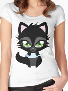 Cute cartoon black kitten with blue fish Women's Fitted Scoop T-Shirt