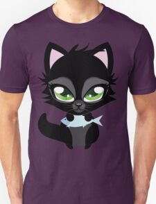 Cute cartoon black kitten with blue fish T-Shirt