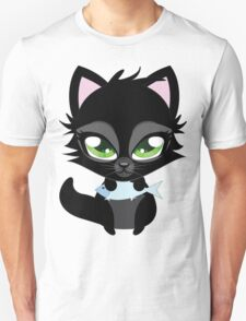 Cute cartoon black kitten with blue fish Unisex T-Shirt