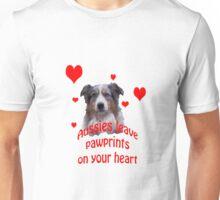 Australian Shepherds Leave  Pawprints On Your Heart Unisex T-Shirt