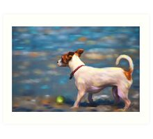 Jack Russell Terrier at the Beach Art Print