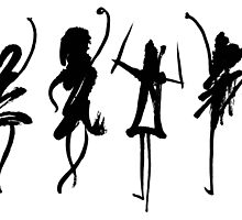 Four abstract dancers, ink painting with enhanced contrast. by KerstinB