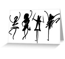 Four abstract dancers, ink painting with enhanced contrast. Greeting Card