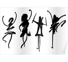 Four abstract dancers, ink painting with enhanced contrast. Poster