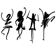 Four abstract dancers, ink painting with enhanced contrast. Photographic Print