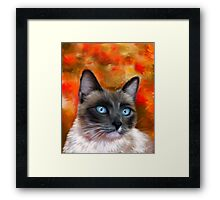Fire and Ice Siamese Cat Painting Framed Print