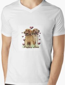 Briard Puppy Love Mens V-Neck T-Shirt