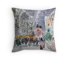 Snowing At Christmas Time Throw Pillow