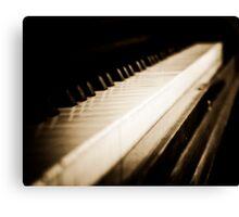 Sepia Piano Keyboard Canvas Print