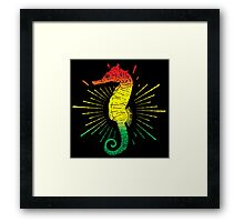 Seahorse with Reggae Music Flag Colors! Framed Print