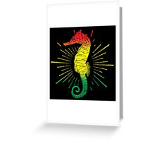 Seahorse with Reggae Music Flag Colors! Greeting Card