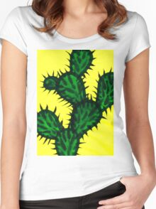 Chinese brush painting - Opuntia cactus. Women's Fitted Scoop T-Shirt