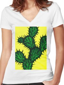 Chinese brush painting - Opuntia cactus. Women's Fitted V-Neck T-Shirt