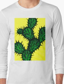 Chinese brush painting - Opuntia cactus. Long Sleeve T-Shirt