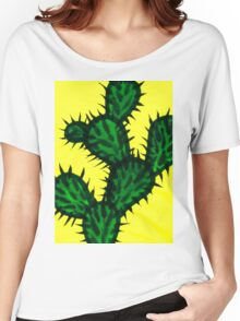 Chinese brush painting - Opuntia cactus. Women's Relaxed Fit T-Shirt