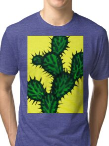Chinese brush painting - Opuntia cactus. Tri-blend T-Shirt