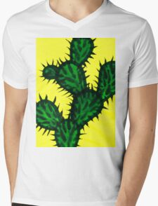 Chinese brush painting - Opuntia cactus. Mens V-Neck T-Shirt