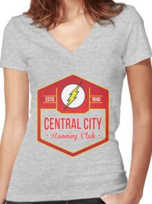 Central City Running Club Color Women's Fitted V-Neck T-Shirt