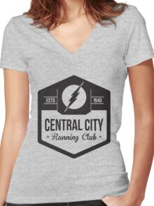Central City Running Club Black Women's Fitted V-Neck T-Shirt