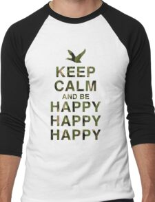 Keep Calm and be Happy Happy Happy (Camo) Men's Baseball ¾ T-Shirt