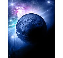 Earth and Nebula iPhone and iPad Case Photographic Print