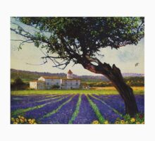 lavender fields and chalet at sunset T-Shirt