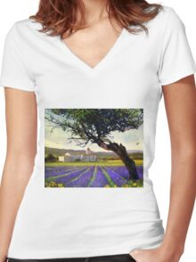 lavender fields and chalet at sunset Women's Fitted V-Neck T-Shirt