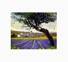 lavender fields and chalet at sunset Unisex T-Shirt
