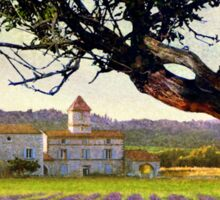 lavender fields and chalet at sunset Sticker