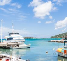 Boats in Tropical Harbor.jpg Sticker
