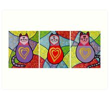 3 funky cats with golden hearts Art Print
