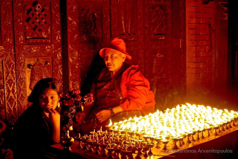 Vendors outside Boudhnath Stupa by Konstantinos Arvanitopoulos