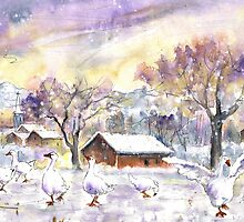 Geese In Germany In Winter by Goodaboom