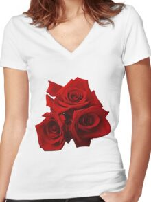 Red Roses Women's Fitted V-Neck T-Shirt