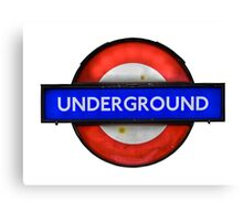 Isolated Grungy London Underground Sign Canvas Print