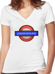 Isolated Grungy London Underground Sign Women's Fitted V-Neck T-Shirt