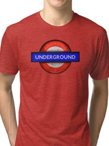 Isolated Grungy London Underground Sign Tri-blend T-Shirt