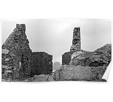 The Bass Rock through Watchtower Ruins Poster