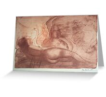 """""""Leda playing with swans"""" Greeting Card"""