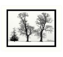 Three Trees in the Norfolk snow - black & white Art Print
