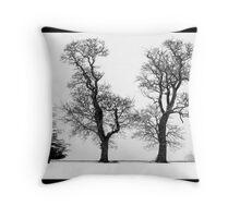 Three Trees in the Norfolk snow - black & white Throw Pillow
