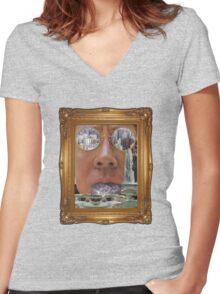 PORTRAIT. Women's Fitted V-Neck T-Shirt