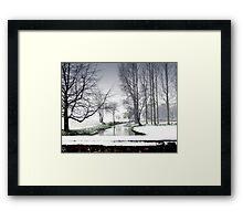 Snowfall at the River Wensum, North Norfolk Framed Print