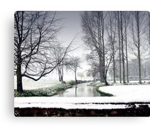Snowfall at the River Wensum, North Norfolk Canvas Print