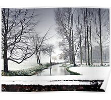 Snowfall at the River Wensum, North Norfolk Poster