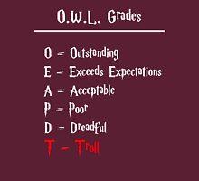 Hogwarts O.W.L.s Grades - Troll (white writing) Womens Fitted T-Shirt
