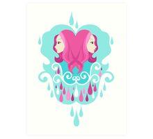 Droplets in aqua. Art Print