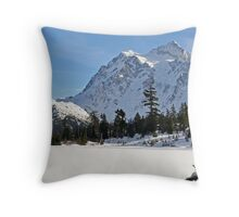 Mount Shuksan and Snowed Over Picture Lake in Winter Throw Pillow